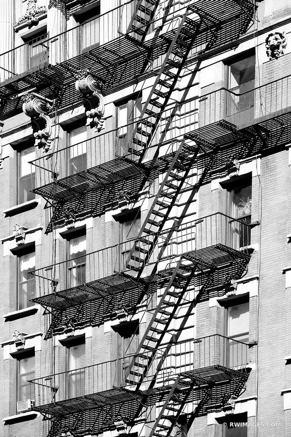FIRE ESCAPE MANHATTAN NEW YORK CITY BLACK AND WHITE VERTICAL