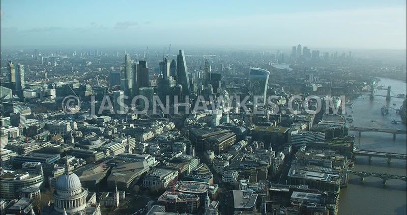 London Aerial footage, St Paul's Cathedral towards City of London skyline.