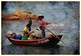 Hong Kong family in fishing boat