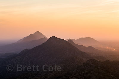Sunrise over the Aravali Range and the Thar Desert from the Pachmantha Mataji temple, Majhewla Village, Rajasthan, India