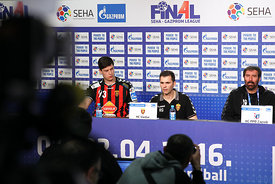 Mihajlo MARSENIĆ of Vardar, Raul GONZALES of Vardar , Veselin VUJOVIĆ of PPD Zagreb during the Final Tournament - Final Four - SEHA - Gazprom league, semi finals match, Varazdin, Croatia, 03.04.2016..Mandatory Credit ©SEHA/Zsolt Melczer