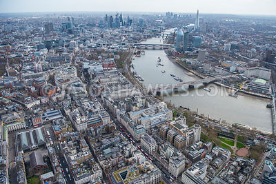Aerial view of London, Covent Garden along Strand towards Aldwych and Temple.