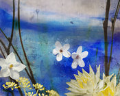 Modern Blue Photo Collage | Yellow & White Flower