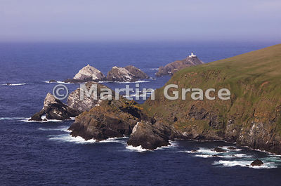 Hermaness National Nature Reserve, Unst, Shetland, looking north to the Skerries and Muckle Flugga lighthouse