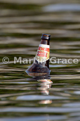 Floating Castle Lager bottle, River Chobe, Botswana - an unfortunate consequence of tourism