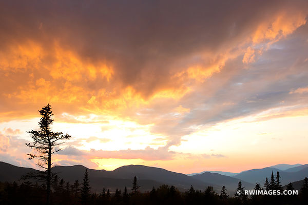 GOLDEN SUNSET WHITE MOUNTAINS KANCAMAGUS HIGHWAY NEW HAMPSHIRE FALL COLORS LANDSCAPE