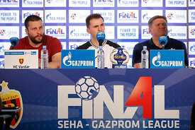 Stojance Stoilov,Raul Gonzales and Sergey Bebeshko  at the opening press conference during the Final Tournament - Final Four - SEHA - Gazprom league, Skopje, 12.04.2018, Mandatory Credit ©SEHA/ Uros Hocevar