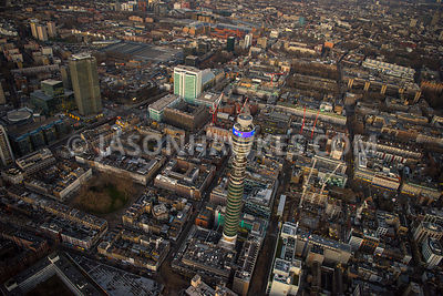 Aerial view of London, Fitzrovia towards Euston Station, Tavistock Square and Gordon Square.