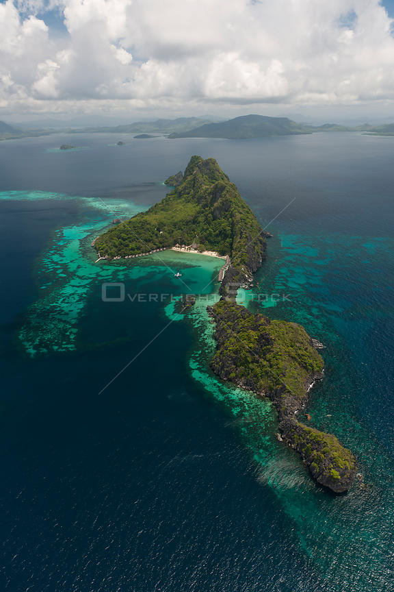 Aerial view of Apulit Island Tourist Resort, Palawan, Philippines, May 2009.