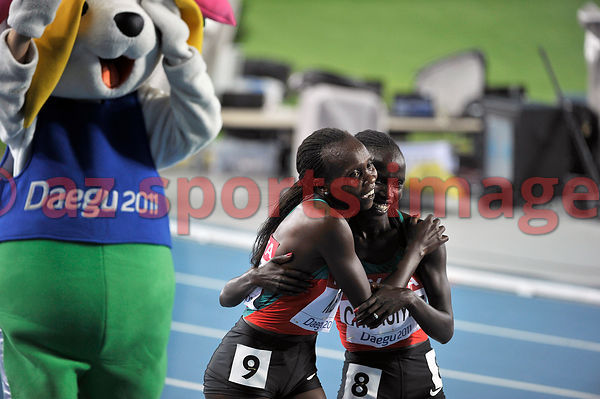 Kenyan athletes Vivian Jepkemoi Cheruiyot and Sylvia Jebiwott Kibet scooped the medals for the 5000m race at the IAAF World championships being held in Daegu. Cheruiyot took the gold medal ahead of her compatriot. South Korea. 2nd September 2011.  .Vivian Jepkemoi Cheruiyot S.Kibet celebrate.