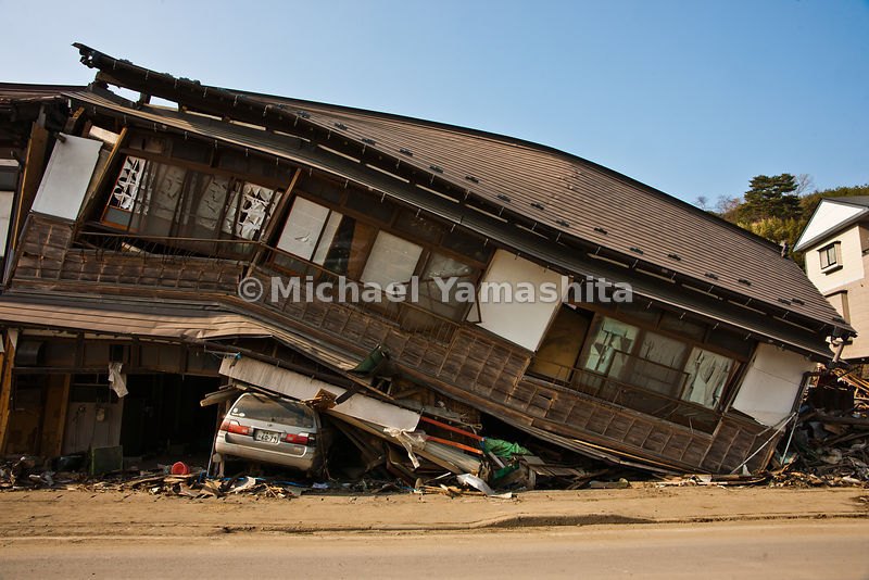 March 11 Great Eastern Japan Earthquake and Tsunami. Measuring 9, biggest ever to hit Japan destroying the NE coast line cities and villages for 200 plus miles. At least a dozen large fishing boats driven aground and jumbled by the Tsunami.  We can count the numbers on the aerials over this place.