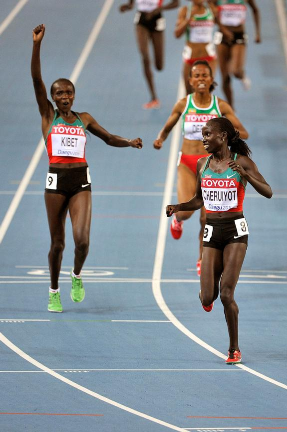 Kenyan athletes Vivian Jepkemoi Cheruiyot and Sylvia Jebiwott Kibet scooped the medals for the 5000m race at the IAAF World championships being held in Daegu. Cheruiyot took the gold medal ahead of her compatriot. South Korea. 2nd September 2011.  Vivian Jepkemoi Cheruiyot celebrates as Kibet (left) raises her hand after the race.