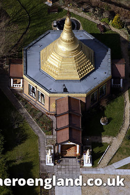aerial photograph of the Peace Pagoda in Birmingham England UK