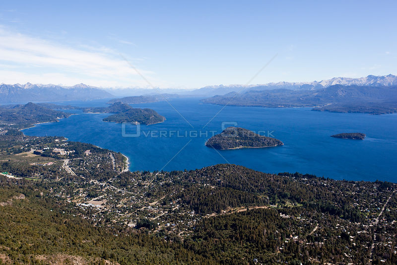 Aerial view of Lake Nahuel Huapi and the town of Bariloche, Argentina February 2009