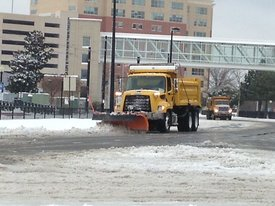 Clearing snow near hospital center