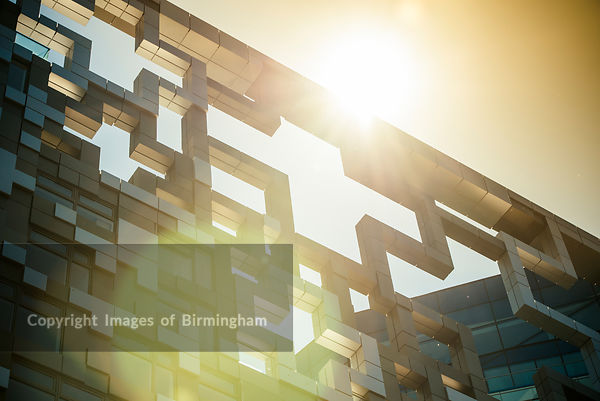 The Cube building, Birmingham, England, at sunset