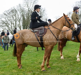 Sophie Pedlar at the meet - The South Shropshire and Belvoir Hunts at Belvoir Castle 11/3/17