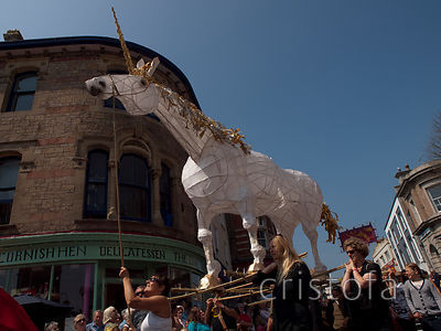 a unicorn takes part in the Mazey Day parade