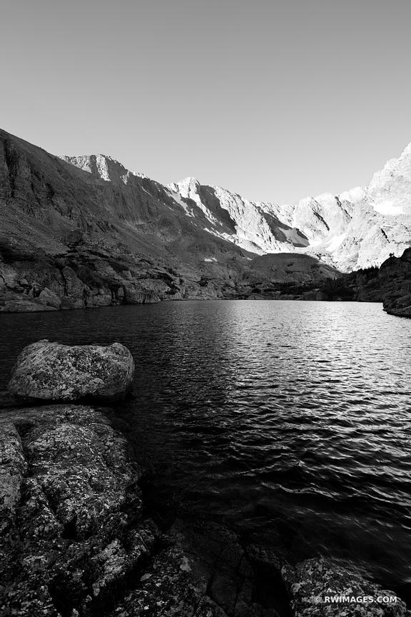 Sky pond rocky mountain national park colorado black and white vertical