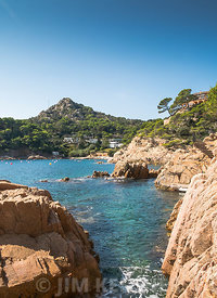 View of part of the rugged coast of the Costa Brava, at Aigua Blava, in Spain