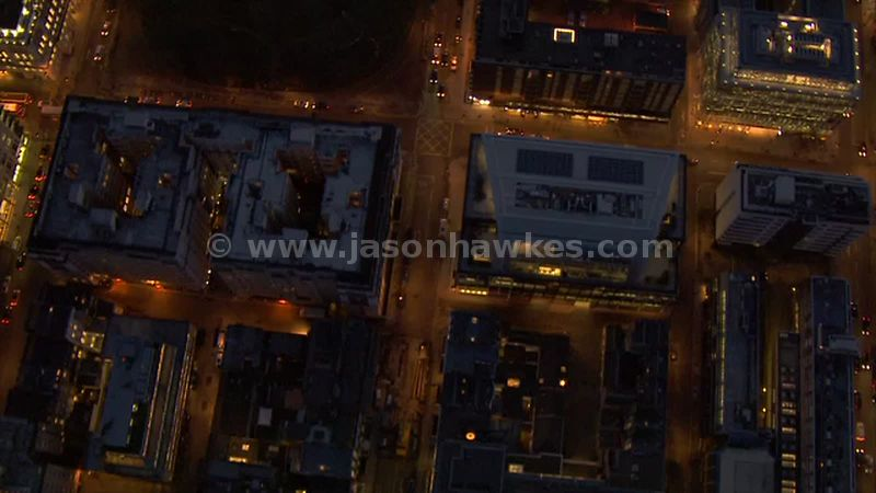 Aerial footage of buildings at night, London