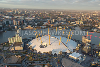 Aerial view of InterContinental London and the O2, The O2 (Formerly The Millennium Dome), London .