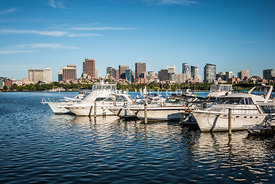 Boston Skyline Charles River Boats Photo