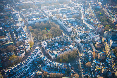 Aerial view of London, Wilton Crescent and Wilton Place towards Cadogan Square Garden.
