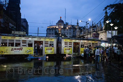 Monsoon rains at night, Newmarket, Kolkata, India