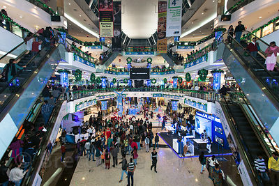 Interior view of South City Mall in Kolkata, India at Christmas, including a diarama with Santa Claus. South City is the largest mall in East India. Christmas is celebrated enthusiastically in Kolkata.