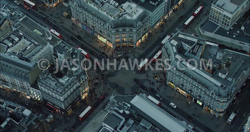 London Aerial Footage of Oxford Street and Regent Street.