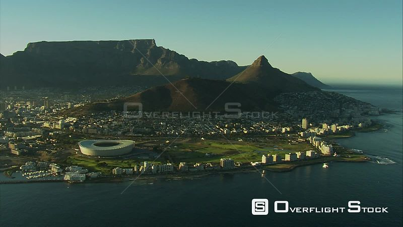 Aerial shot over Cape Town, mainly Green Point. Cape Town Western Cape South Africa