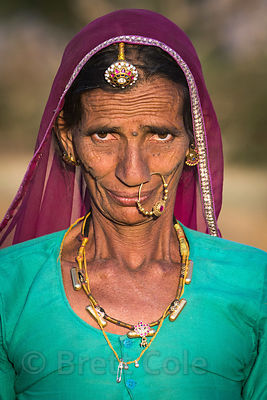Portrait of a lady farmer, Picholiya village, Rajasthan, India