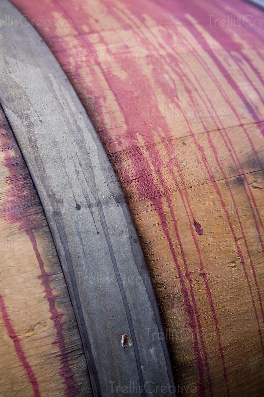 A wine stained oak wood barrel