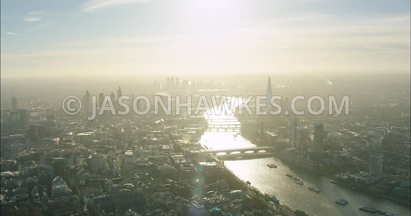 London Aerial Footage of River Thames with Blackfriars bridges