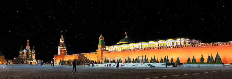 Night panorama of Red Square, Kremlin wall, Spasskaya and Senatskaya towers; Moscow, Russian Federation