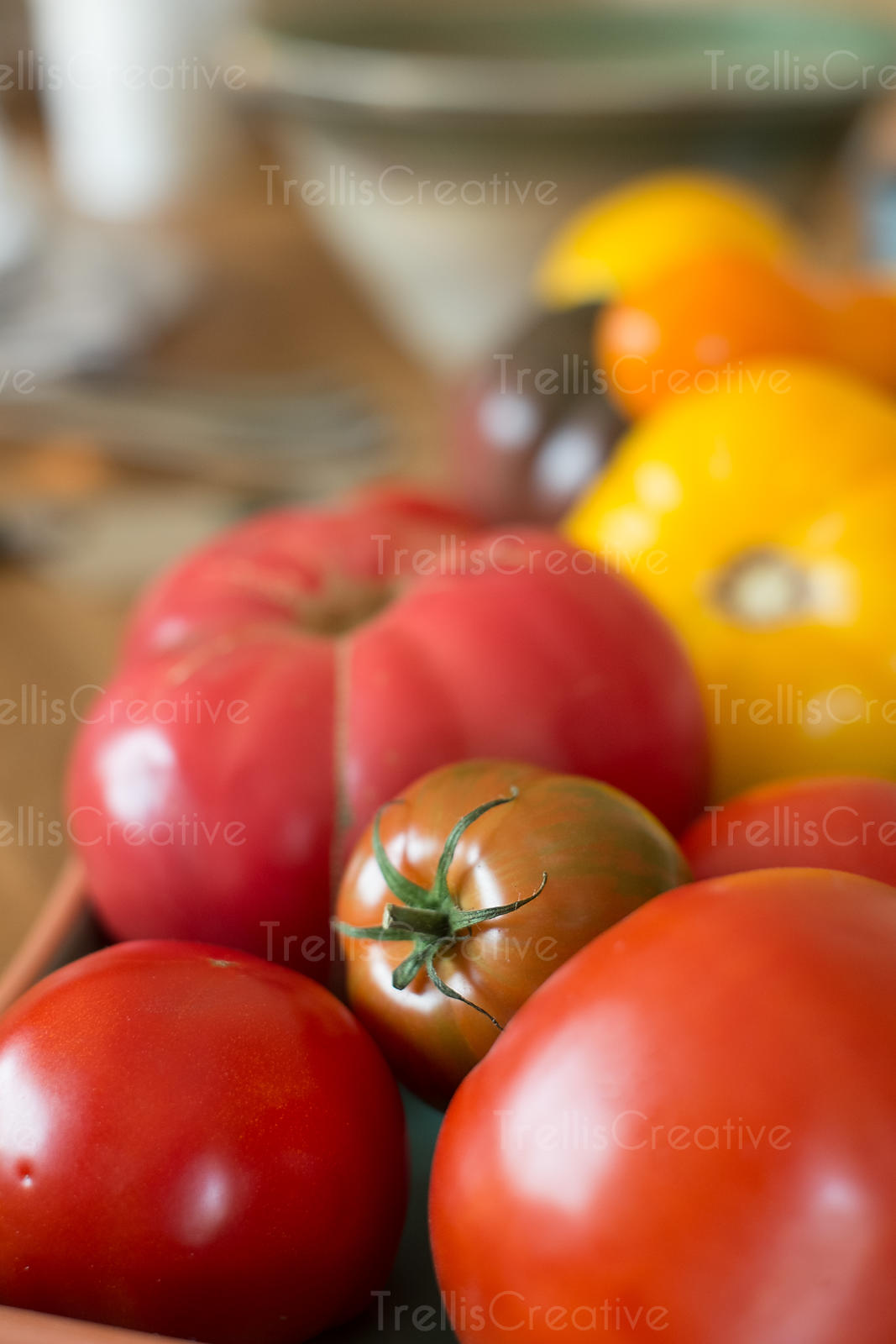 Close-up of fresh ripe heirloom tomatoes