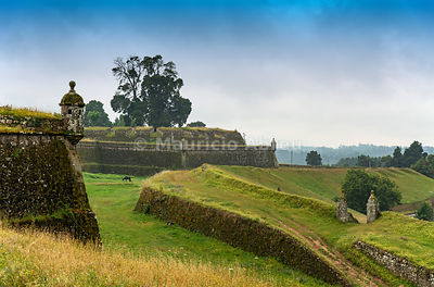 The 17th century fortifications of Valenca do Minho overlooking Galicia in Spain. Alto Minho, Portugal