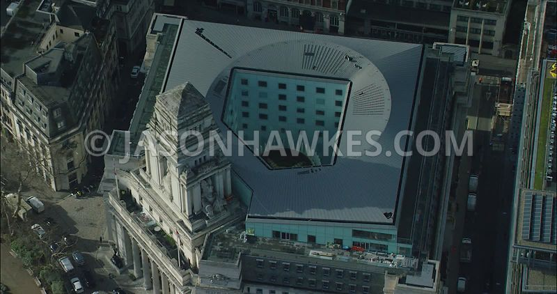 London Aerial footage, Four Seasons at Ten Trinity Square close up.