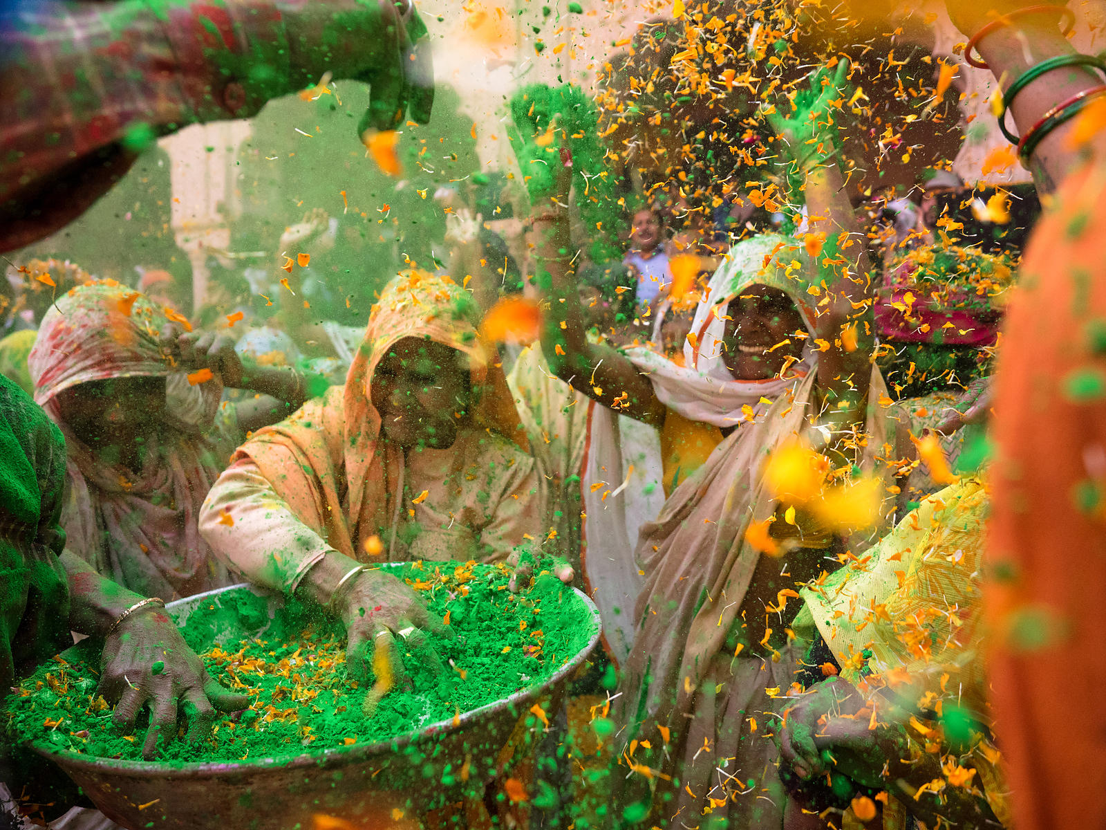 The widows of Vrindavan playing holi