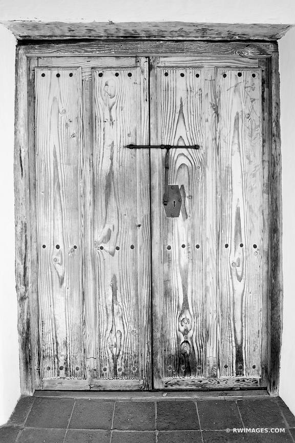 OLD WOODEN DOOR HISTORIC SANTA BARBARA CALIFORNIA BLACK AND WHITE
