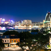 Fort Street and Sydney Harbor Bridge at night from Observatory Park, Sydney, New South Wales, Australia