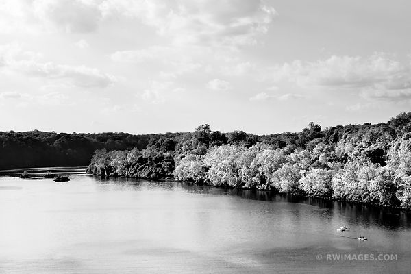 POTOMAC RIVER GEORGETOWN WASHINGTON DC BLACK AND WHITE