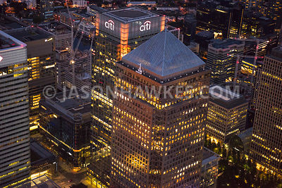 Aerial view of London, Docklands, close up of Canada Tower.