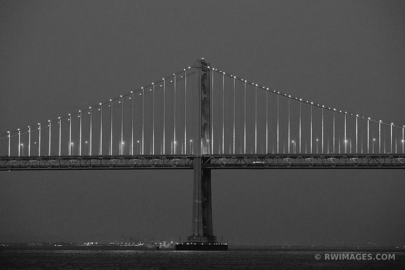 BAY BRIDGE AT NIGHT SAN FRANCISCO BLACK AND WHITE
