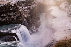 Gullfoss Falls, a waterfall located in the canyon of Hvítá river in southwest Iceland.