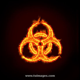 burning biohazard sign on fire.