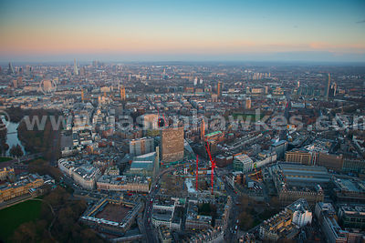 Aerial view of Westminster and Pimlico at dusk, London