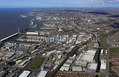 aerial photograph of  Bootle Liverpool Merseyside England UK