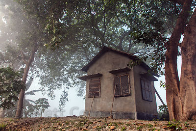 A rustic small cottage on a misty morning in the East Kolkata Wetlands, Kolkata, India.